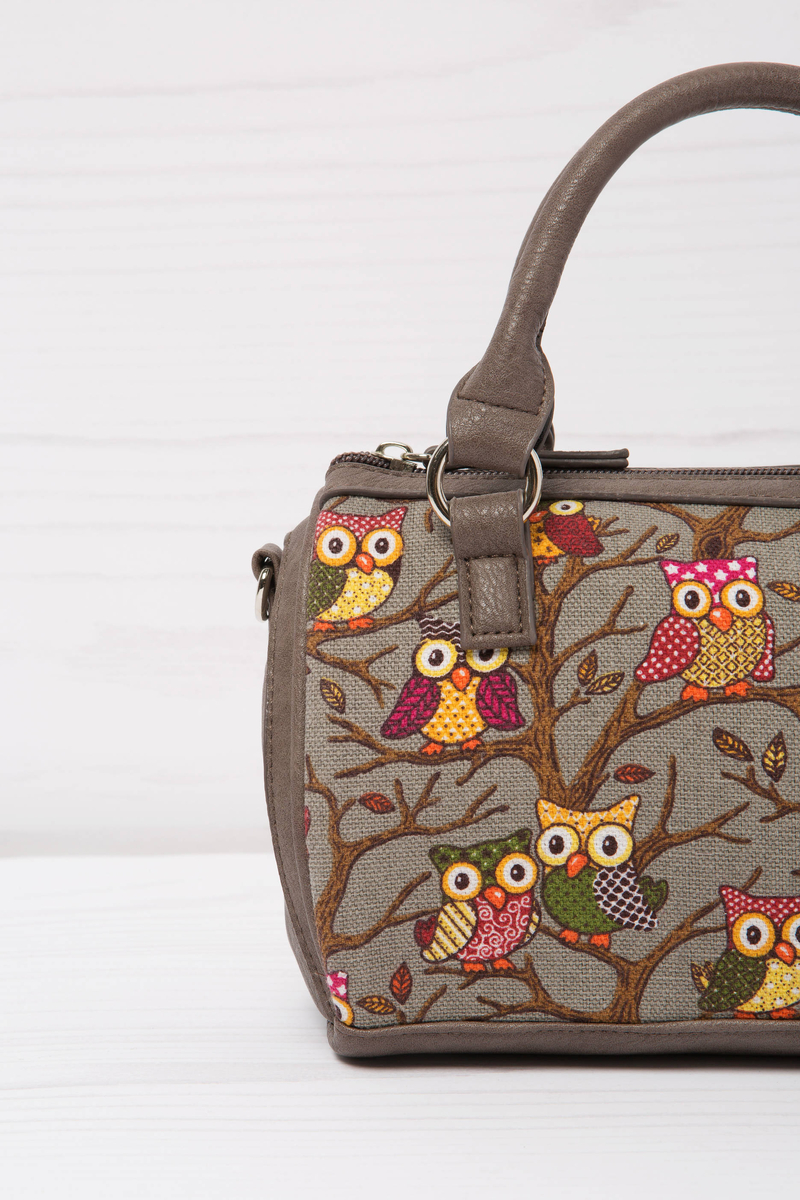 Cotton handbag with owl pattern image number null