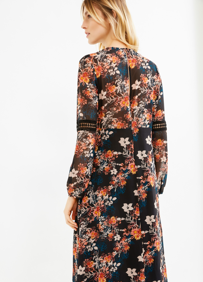 Lined dress with flower print image number null