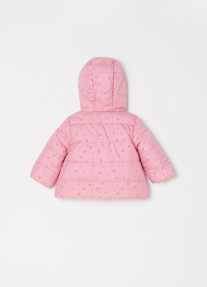 Padded jacket with hearts pattern image number null