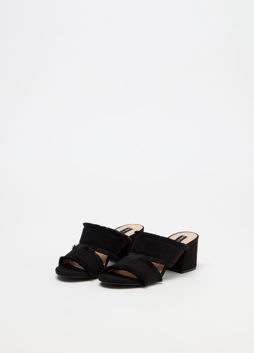 Sandals with straps and fringing