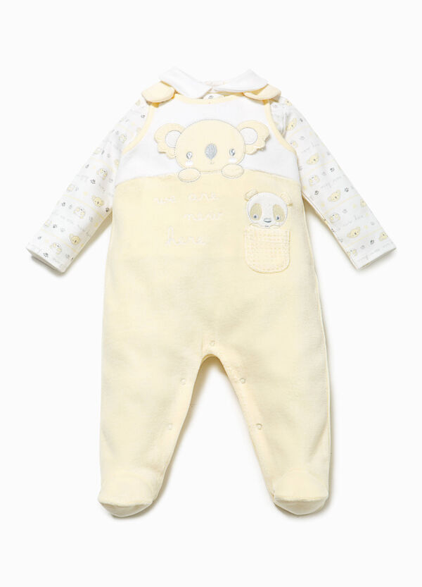 T-shirt and dungarees set with patch | OVS