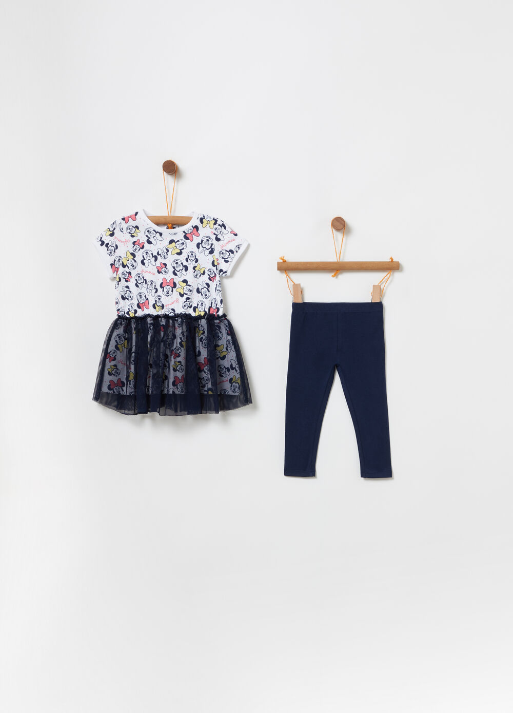 Dress and legging set with Minnie Mouse tulle
