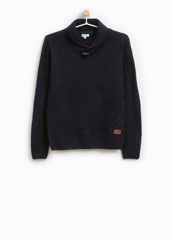 V-neck knitted pullover in 100% cotton