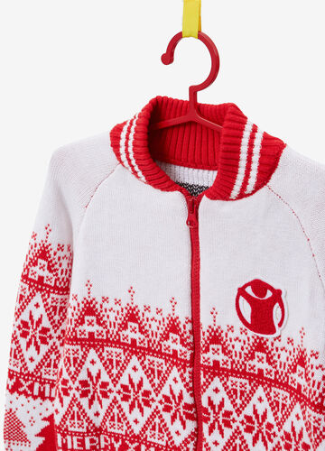 Christmas sweater with Save The Children patch