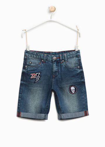 Denim Bermuda shorts with patches