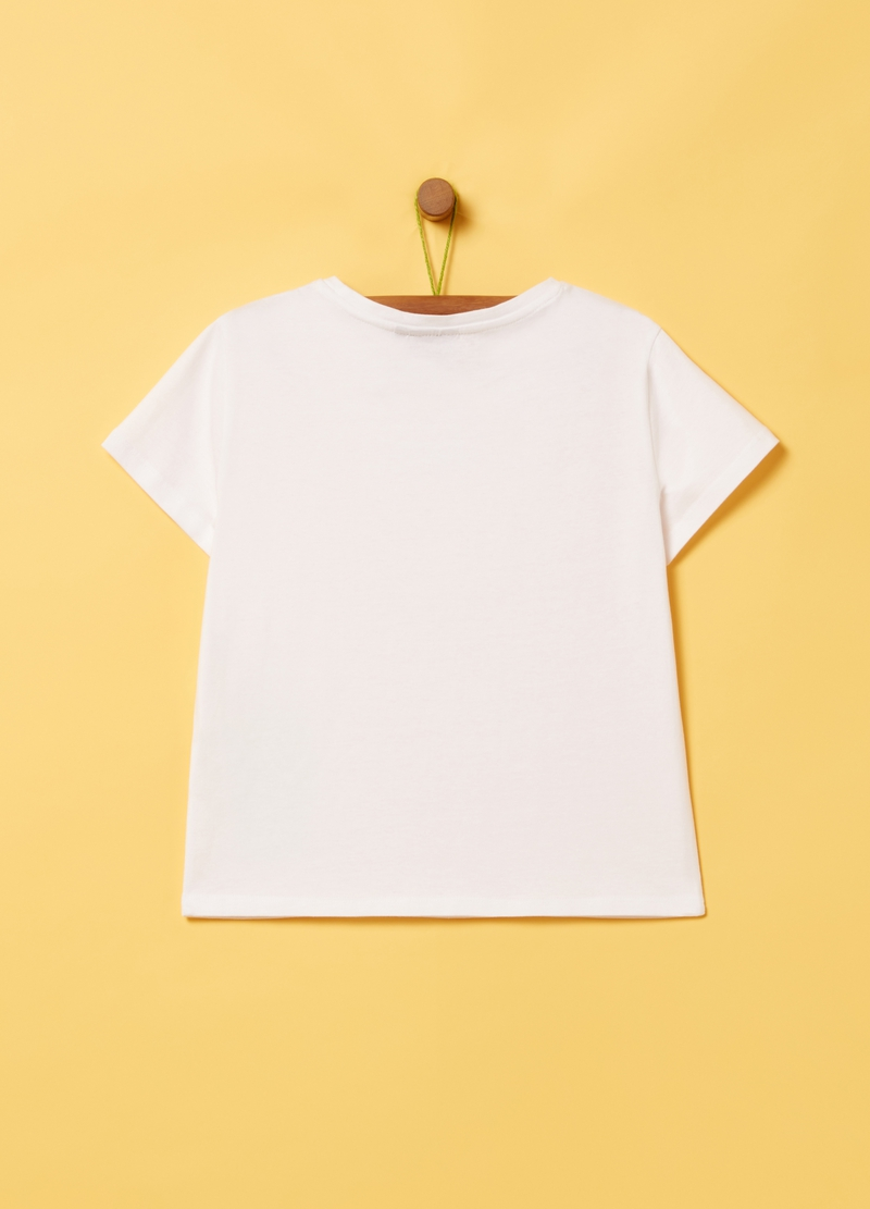 Solid colour crop T-shirt with Snoopy print image number null
