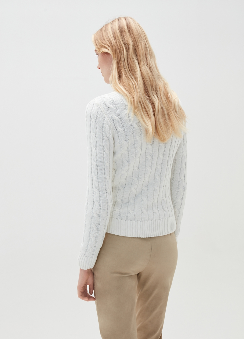 Ribbed pullover in 100% cotton with braided motif image number null