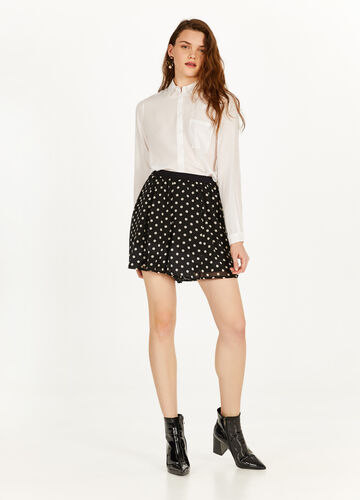 Polka dot patterned culottes