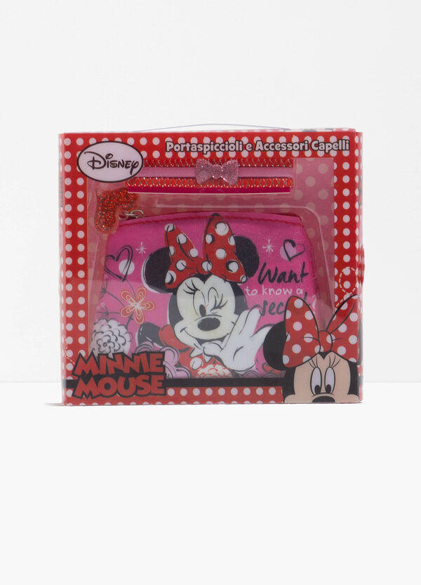 Minnie Mouse case and three hair elastics set
