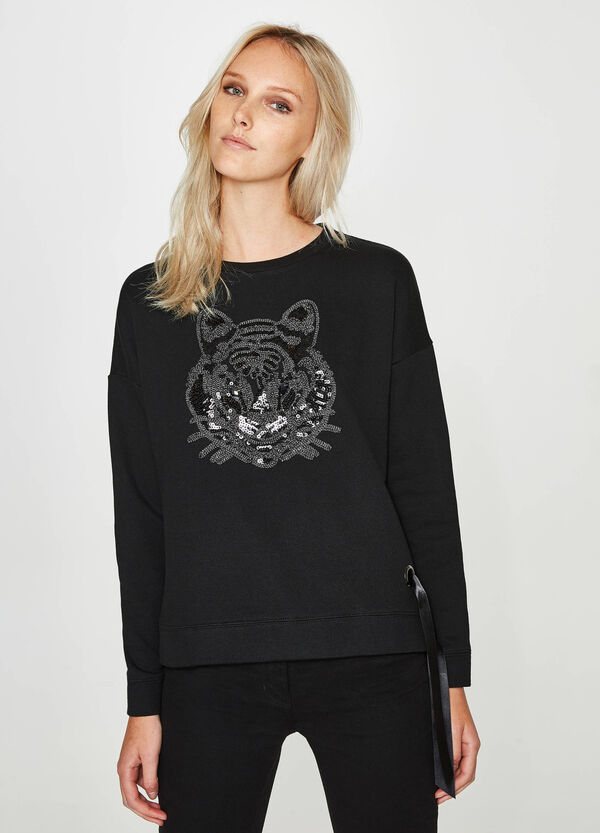 Cotton blend sweatshirt with tiger beads | OVS