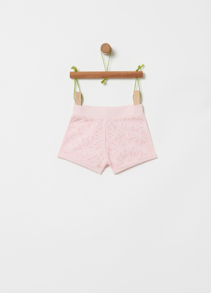 Organic cotton shorts with Sangallo lace image number null