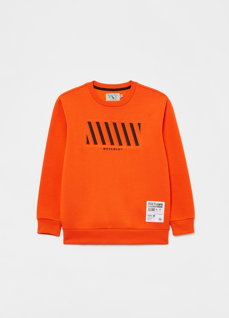 Sweatshirt with round neck and printed lettering image number null
