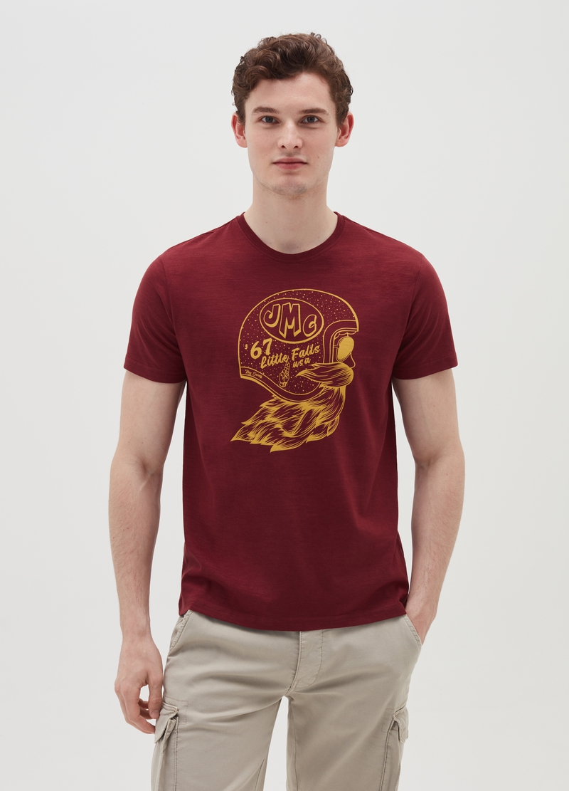 T-shirt con stampa casco motociclista image number null