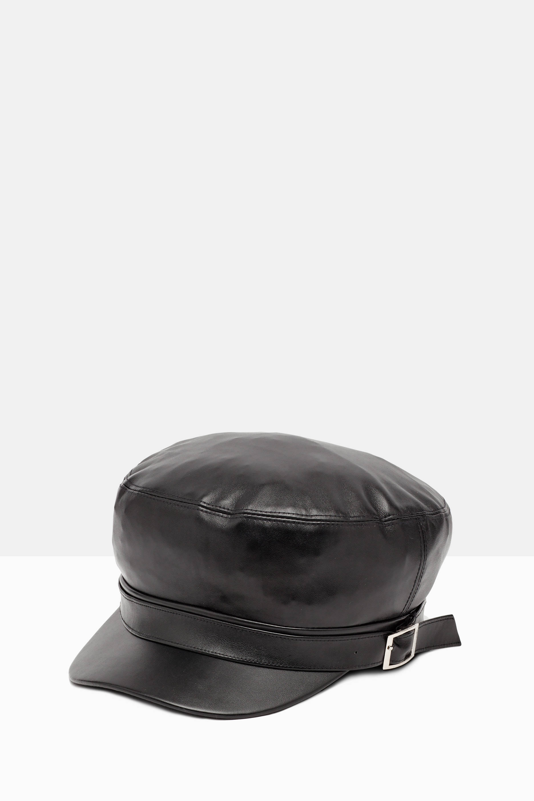 Leather look hat with visor