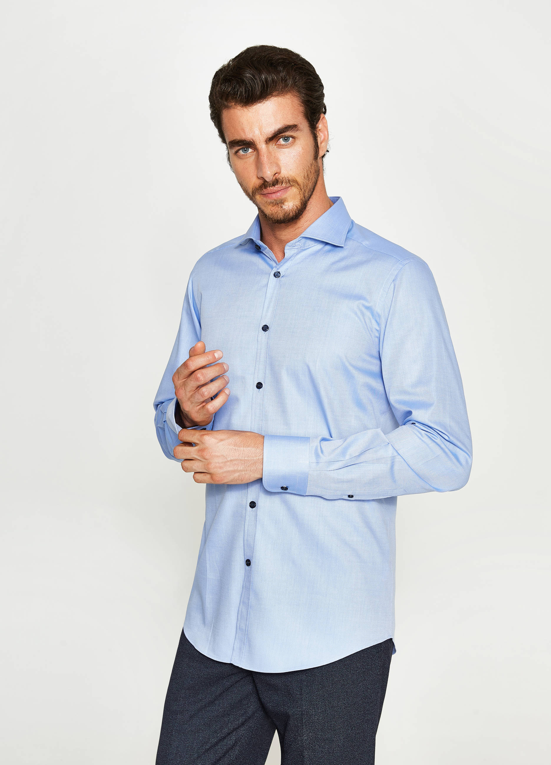 outlet b4351 c2252 Camicia formale slim fit colletto francese