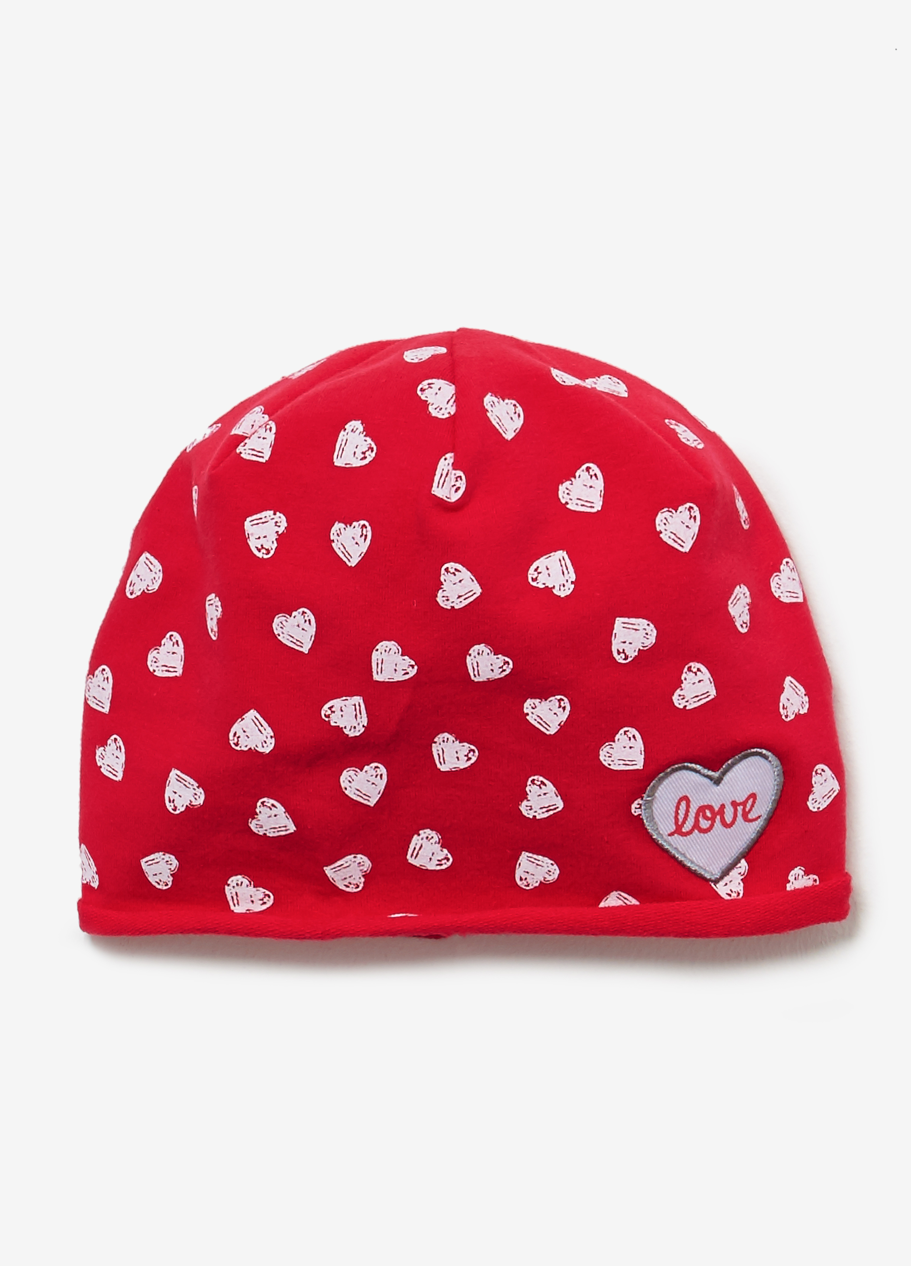 Jersey Beanie Cap With Heart Pattern Ovs