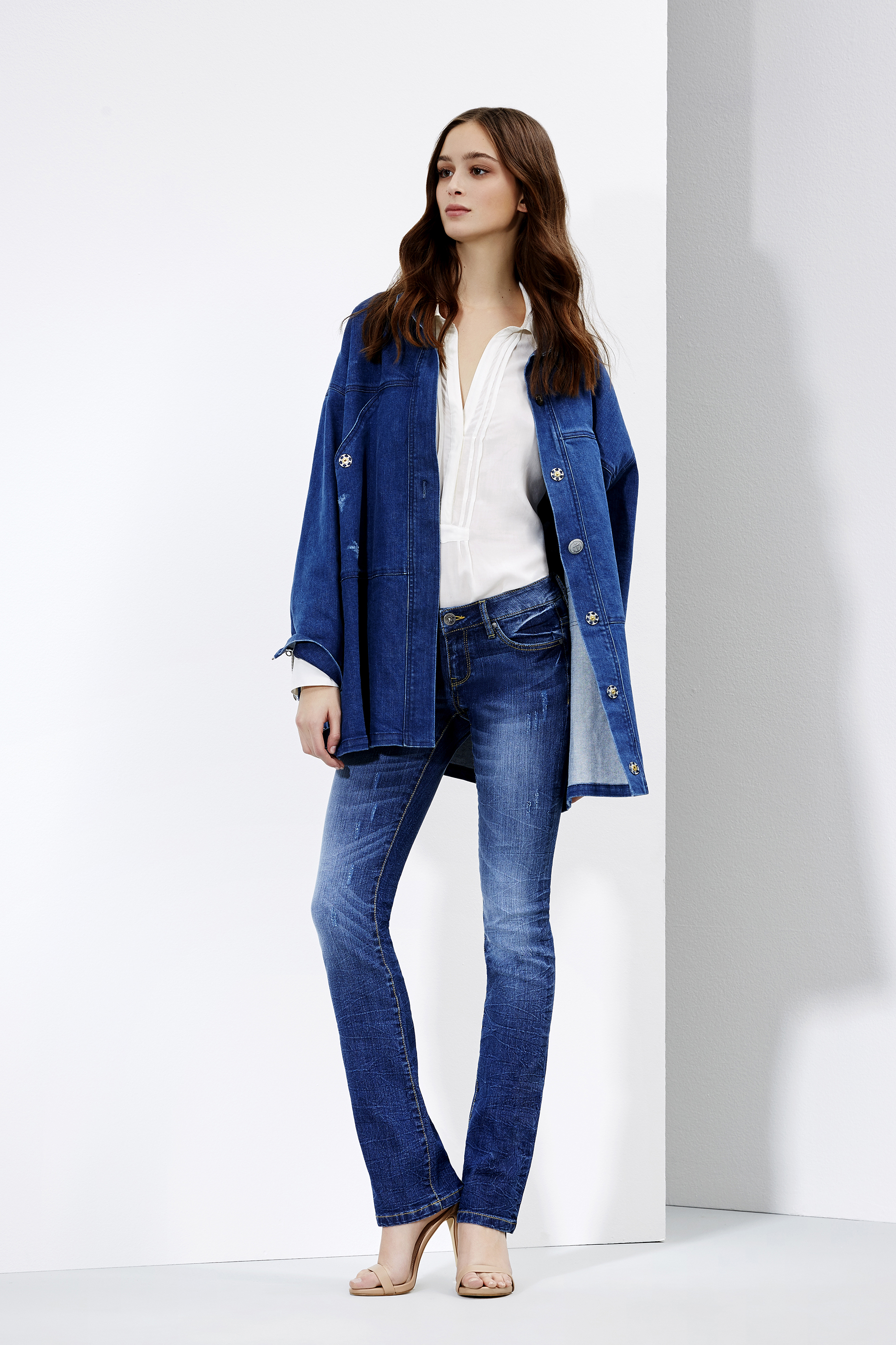 Bootcut jeans and blouse with denim jacket